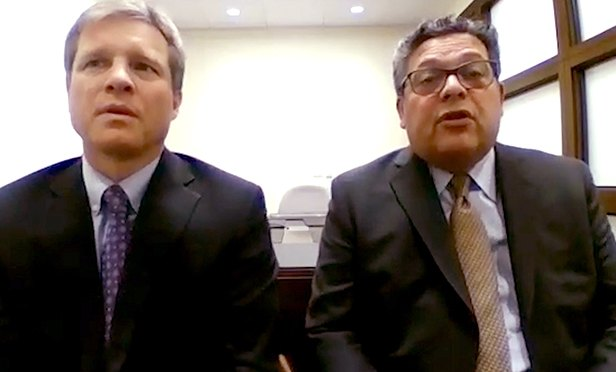 Sean Aylward, left and Frank Giantomasi, members of the law firm Chiesa Shahinian & Giantomasi, West Orange, NJ
