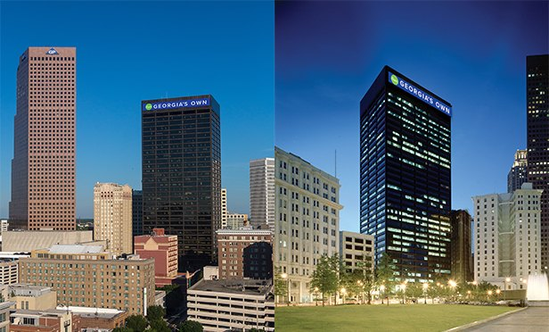 Day and night views of 100 Peachtree, Atlanta, GA, enhanced to show the new LED signage planned for the redeveloped property.