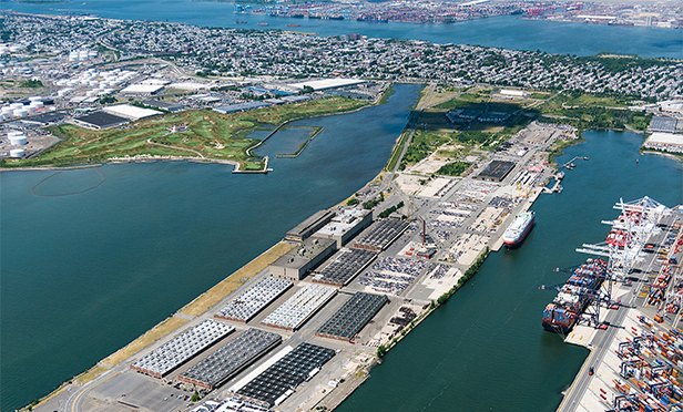 Aerial view of former Military Ocean Terminal at Bayonne (MOTBY)