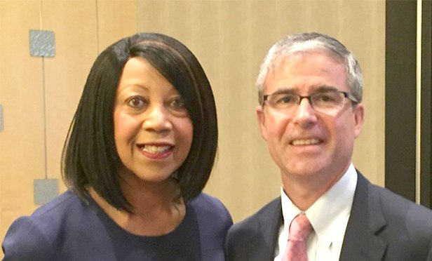 Lt. Gov. Sheila Oliver, left, with with NAIOP NJ President Dave Gibbons of Elberon Development Group at the commercial real estate development association's 2018 Public Policy Symposium.