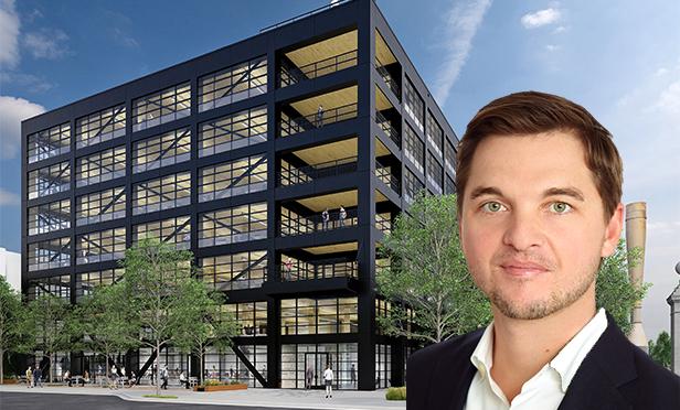 Rendering of Hines Company's T3 West Midtown development, Atlanta, GA, with WiredScore's Atlanta office head, J.D. Jeske.