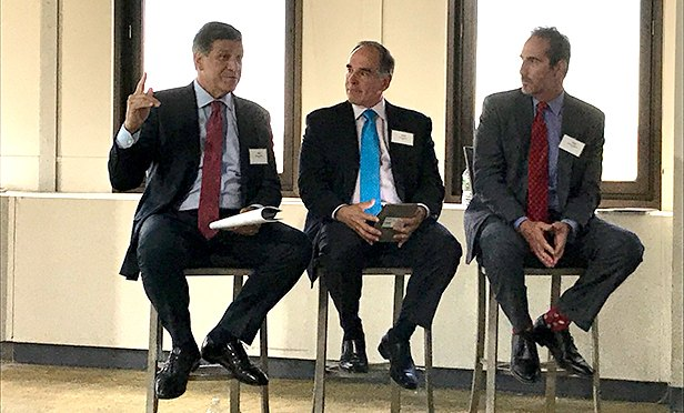 Panelists at the CBRE RIsing: The Newark Office Story panel, from left: Jeff Babikian, executive vice president; Jonathan Meisel, senior vice president; and Jeremy Neuer, executive vice president, all with CBRE