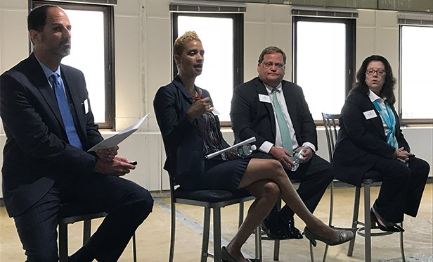 "Participants in a recent CBRE panel, ""Rising: The Newark Office Market Story,"" from left: Jeff Hipschmann, senior managing director, CBRE; Aisha Glover,  president, Newark Community Economic Development; Dudley Ryan, senior vice president, CBRE; and Cheryl Hardt, first vice president, CBRE"