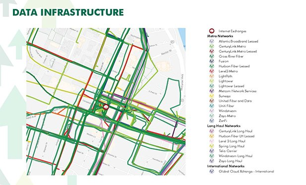 Data infrastructure in downtown Newark, showing backbone carriers (Source: CBRE)