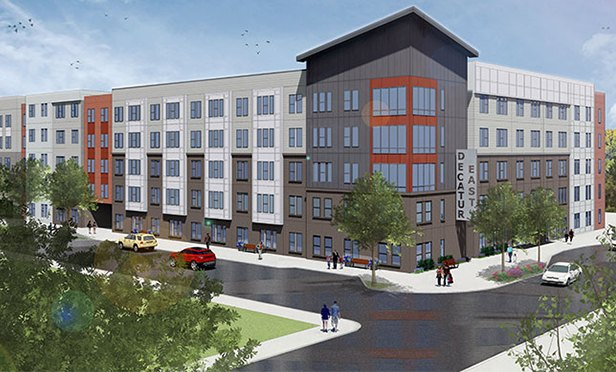 Rendering of the Columbia Senior Residences at East Decatur, near the Avondale MARTA station