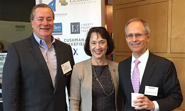 Pictured at NAIOP New Jersey's annual Regulatory, Legislative & Legal Update Seminar (from left to right) are: Jeffrey J. Milanaik, partner, Northeast Region with Bridge Development Partners; Keynote Speaker and New Jersey Department of Environmental Protection Commissioner Catherine McCabe; and NAIOP NJ CEO Michael McGuinness