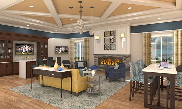 Rendering of Clubhouse planned for Siena, active living senior community, 470 US 130, Cinnaminson, NJ