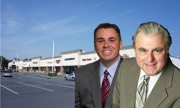 Alan Cafiero, left, and Ben Sgambati, directors and first vice presidents with Marcus & Millichap, and the Somerset Plaza Shopping Center, Franklin Park, NJ, which their team sold this month for $12.775 million (Photo composite)