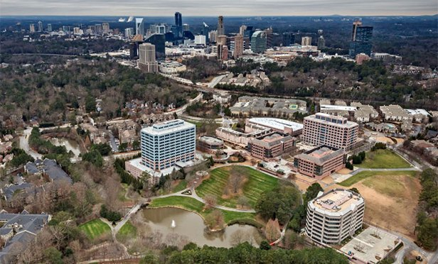 Aerial view of Lenox Park, bottom foreground, Atlanta. GA