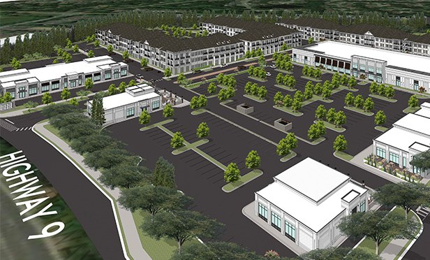 Rendering of a portion of Sun Valley, mixed-use redevelopment planned by Pollack Shores in Roswell, GA