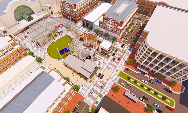 Aerial rendering, Atlantic Station redevelopment, Atlanta, GA