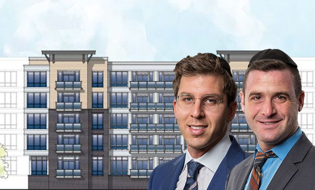 Rendering of Harbor Station South, Bayonne, NJ, with Meridian Capital's Shaya Ackerman, left, managing director; and Shaya Sonnenschein, senior vice president (Composite photo)