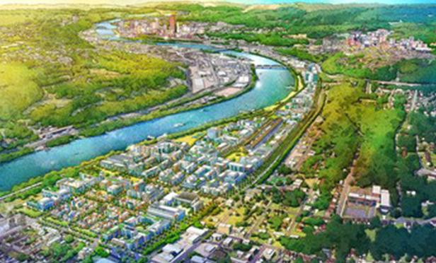 Rendering of Hazelwood Green site looking toward Pittsburgh, PA