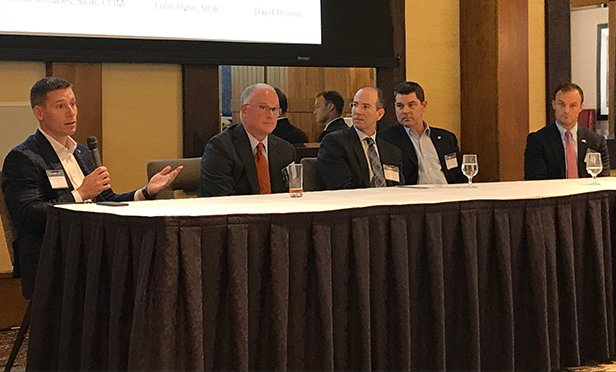 """Participants in the SIOR Philadelphia """"State of the Submarkets"""" panel at the chapter's Industrial Property Summit were, from left: Mike Hess, CBRE; Bob Gude, NorthPoint Development; Dave Thomas, Matrix Development; Brian Knowles, Lee & Associates; and Colin Flynn, The Flynn Company (Steve Lubetkin Photo/State Broadcast News)"""