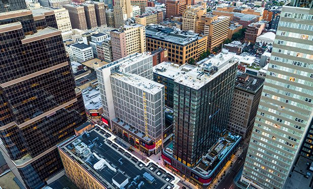 Drone aerial photo shows the current state of East Market development, Philadelphia, PA