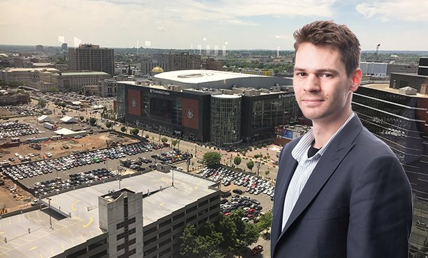 Tim Milazzo, co-founder and CEO, StackSource.com, online loan platform for commercial real estate with Newark's Prudential Center. Prudential Financial is one of the Newark Venture Fund participants providing seed money to StackSource and seven other tech companies (Photo composite)