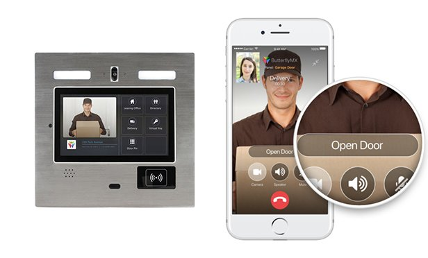 ButterflyMX's video intercom technology couples a wall panel touch screen with a smartphone app