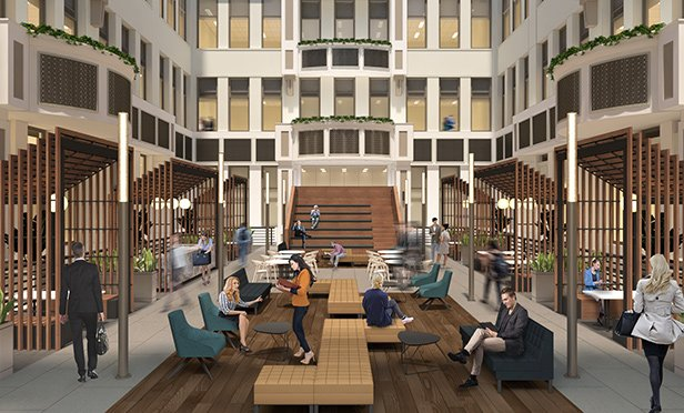 Rendering of Wanamaker Office Building atrium, Philadelphia, PA