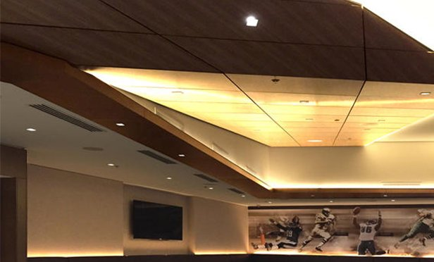 Specialized wood ceiling from Architectural Components Group at Philadelphia Eagles Touchdown Club, Philadelphia, PA