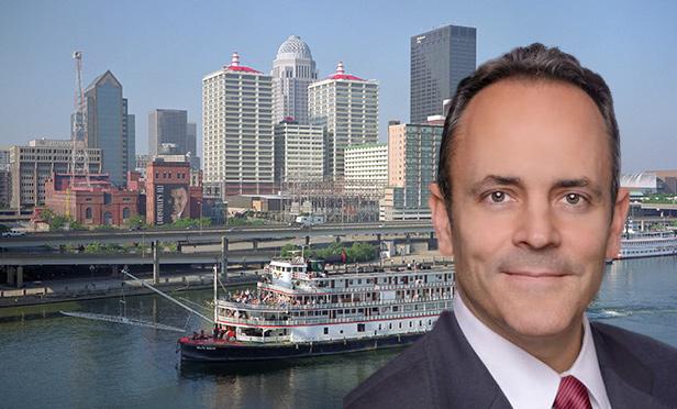 Kentucky Gov. Matt Bevin with Louisville skyline (Composite photo/William Alden Skyline Photo via Flickr.com, Creative Commons License)