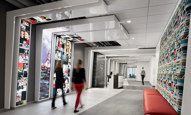 Public hallway in Brown Brothers Harriman's new office in Jersey City, designed by HLW