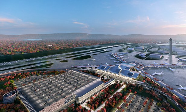 Rendering of new Pittsburgh International Airport parking and transportation infrastructure. The redesign will include a new roadway system that will support the new terminal building, as well as a multi-level parking garage and a dedicated ground transportation center