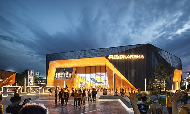 Rendering of Fusion Arena, new online esports arena planned for Philadelphia, PA