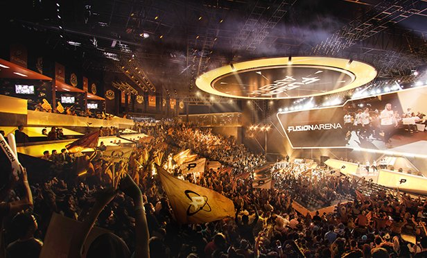 Rendering of interior of Fusion Arena, esports complex planned for Philadelphia, PA