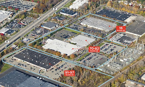 Mahwah Industrial Park, a three-building, 400,000-square-foot light industrial portfolio, is located at 16 McKee Drive, 70-82 McKee Drive and 91-97 McKee Drive in Mahwah, NJ