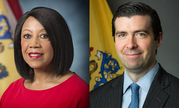 NJ Lt. Gov. Sheila Oliver, left, and Tim Sullivan, NJEDA chief executive officer
