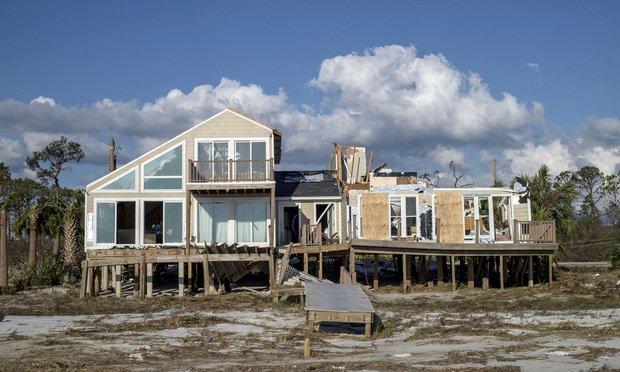 A beach house stands damaged after Hurricane Michael hit in Mexico Beach, Florida, U.S. on Oct. 11, 2018. Photo: Zack Wittman/Bloomberg.