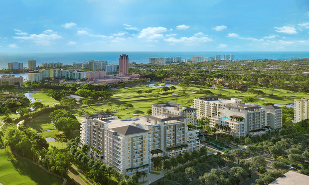 An aerial rendering of ALINA Residences Boca Raton under construction next to the Boca Raton Resort and Club golf course.