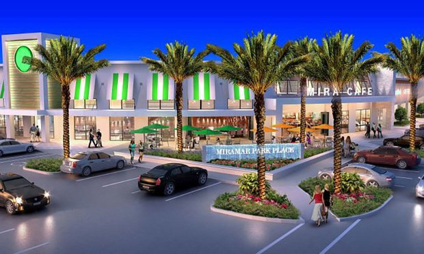 A rendering of Miramar Park Place retail development to rise on 7 acres next to Altman Cos.' Altis multifamily project in Miramar.