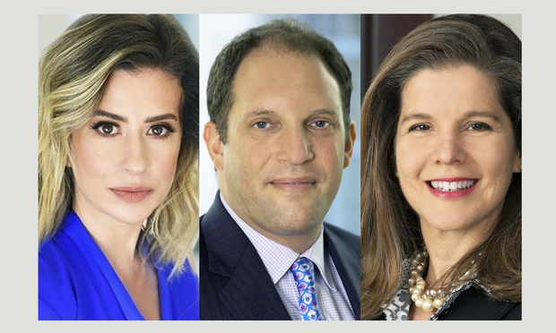 from left, Danielle Garno, head of the retail legal practice at Cozen O'Connor in Miami; Mark A. Levy, a partner at Brinkly Morgan; Aleida Martinez-Molina, a partner and chair of the insolvency and creditors' rights practice groups at Weiss Serota.