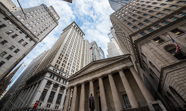 Highrise buildings in Wall Street financial district. Shutterstock