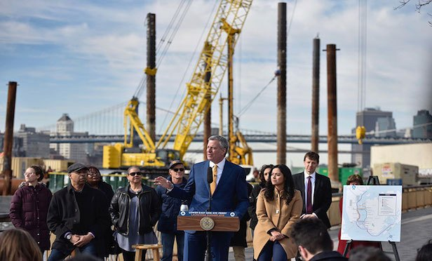 Mayor de Blasio at Ferry dock