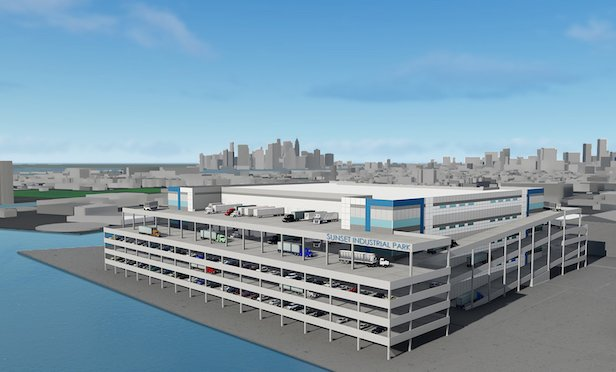 Architectural rendering of planned distribution center at 50 W. 21st. St., in Brooklyn