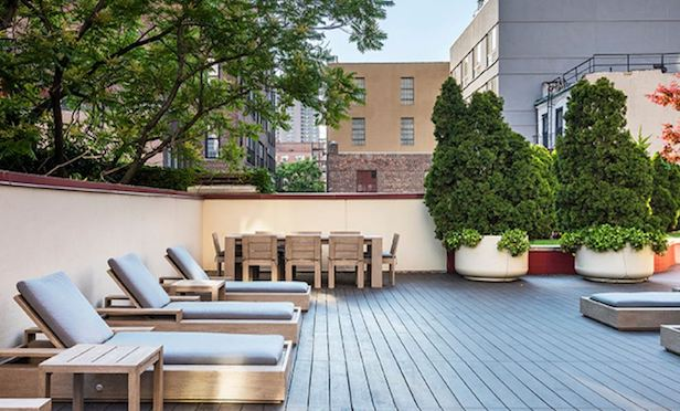 Outdoor residential lounge at The Nicole, 400 W. 55th St.