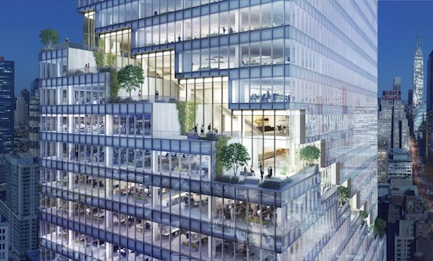 The Spiral's cascading terraces/ Image courtesy of Tishman Speyer