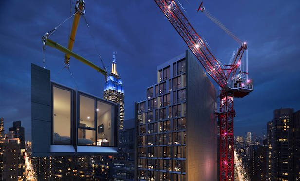 Rendering of modular hotel being built at 842 Sixth Ave./ Photo credit: Danny Forster & Architecture
