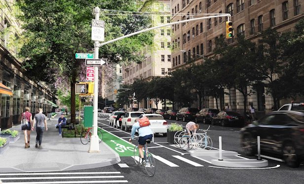 Hudson Street redesign, project conceptual rendering by AKRF and W Architecture and Landscape Architecture