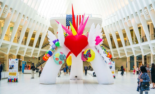 """Live for Love"" art installation on display at the Oculus/ Photo credit: Silverstein Properties"