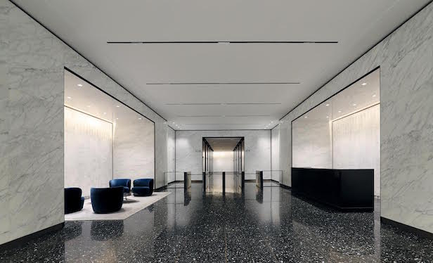 55 Broad St. renovated lobby/ Photo credit: Rudin Management Company
