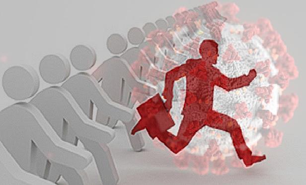 A man running through coronavirus, ahead of many competitors